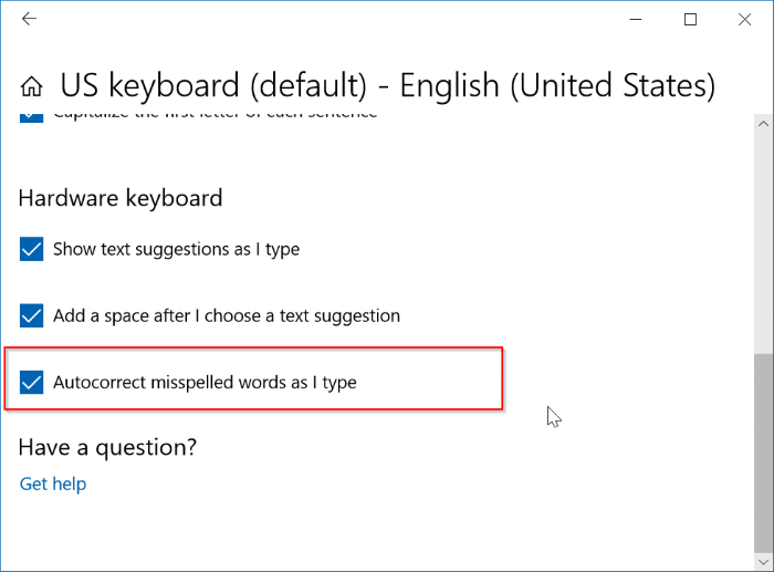 enable or disable auto correct in Windows 10 pic2