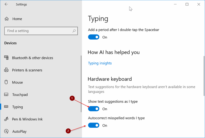 enable text suggestions for all programs in Windows 10