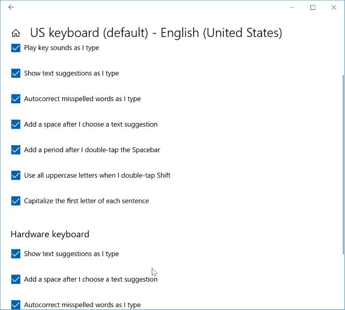 open keyboard settings in Windows 10
