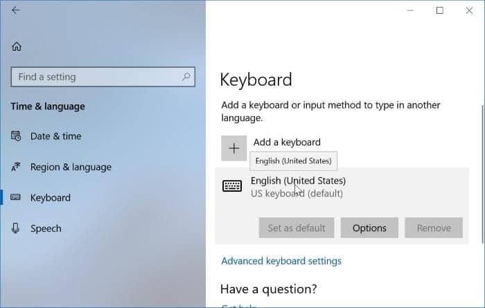 keyboard settings in Windows 10pic01