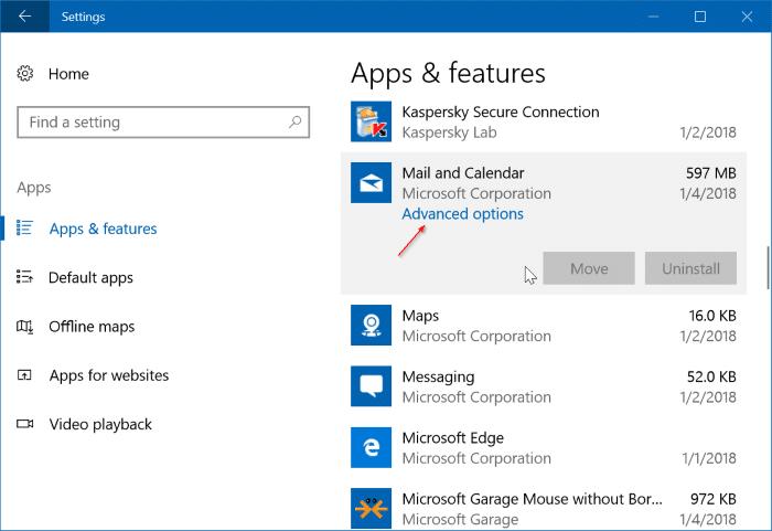 reset and reinstall Calendar app in Windows 10 pic001