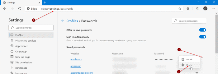 edit or update saved passwords in edge in Windows 10 pic1