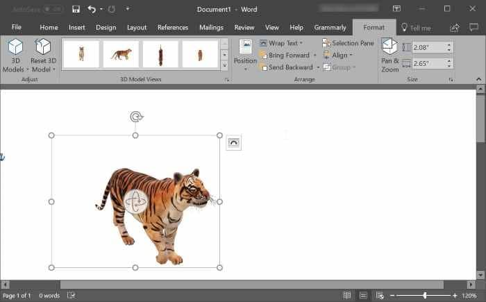 insert 3D models in Word and PowerPoint pic4