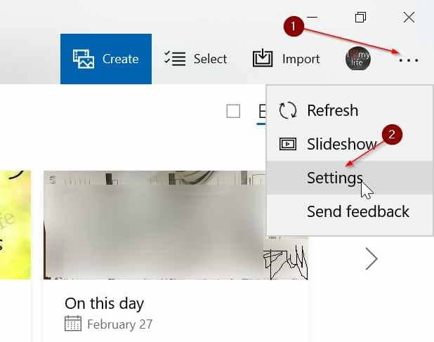 show or hide onedrive images in Photos app in Windows 10 pic01