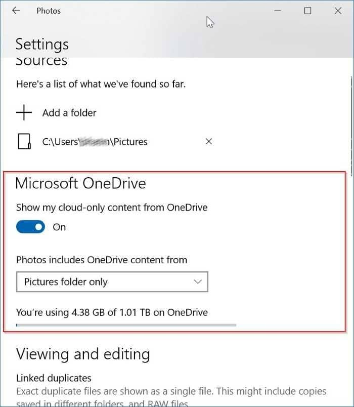 show or hide onedrive images in Photos app in Windows 10 pic3
