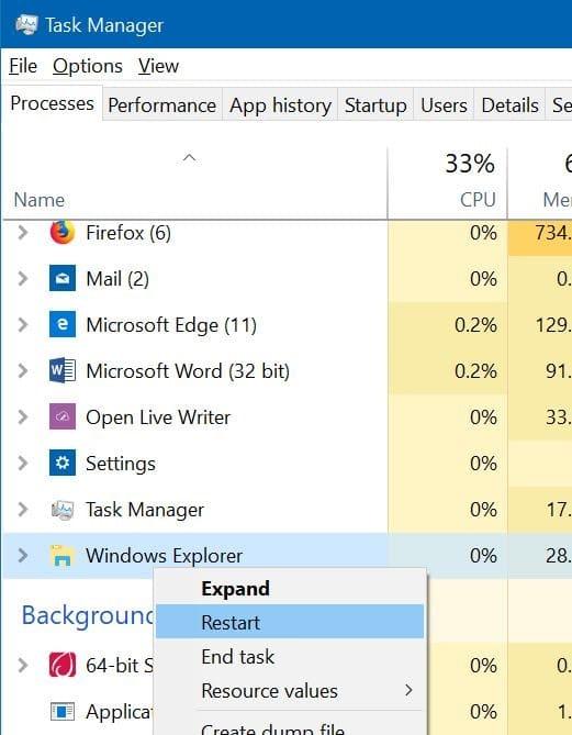 taskbar not working in Windows 10