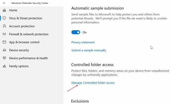 turn on built in ransomware protection in Windows 10 pic03