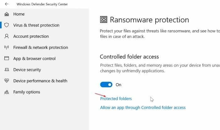 turn on built in ransomware protection in Windows 10 pic05