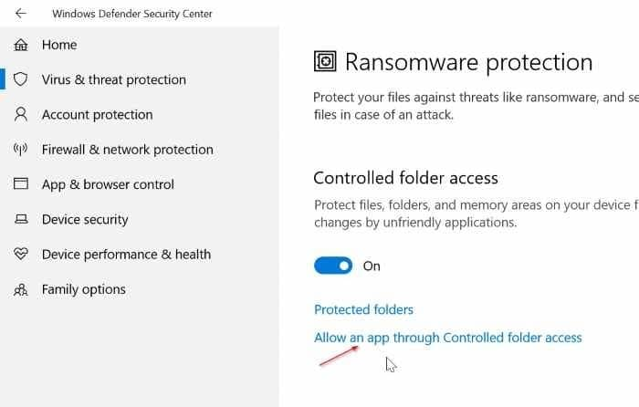 turn on built in ransomware protection in Windows 10 pic07