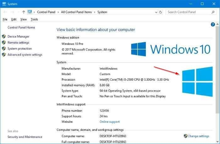 How To Change OEM Logo And Information In Windows 10