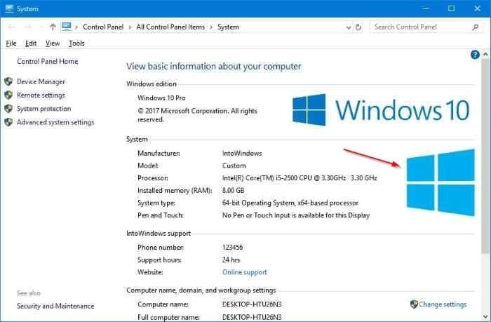 Change OEM logo and information in Windows 10 pic01