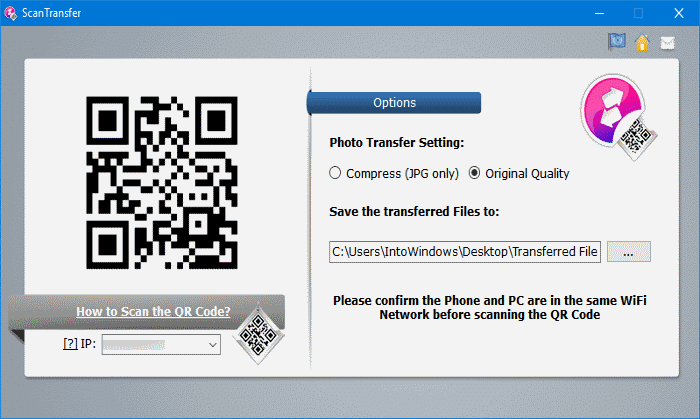 ScanTranfer transfer files from Android and iPhone to Windows 10 PC over WiFI pic2