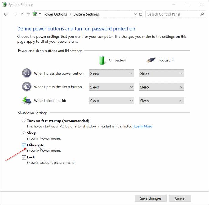 add hibernate option to power menu in Windows 10 Start pic5