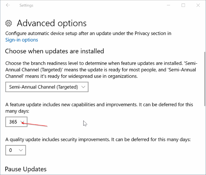 defer or block feature updates in Windows 10 pic1
