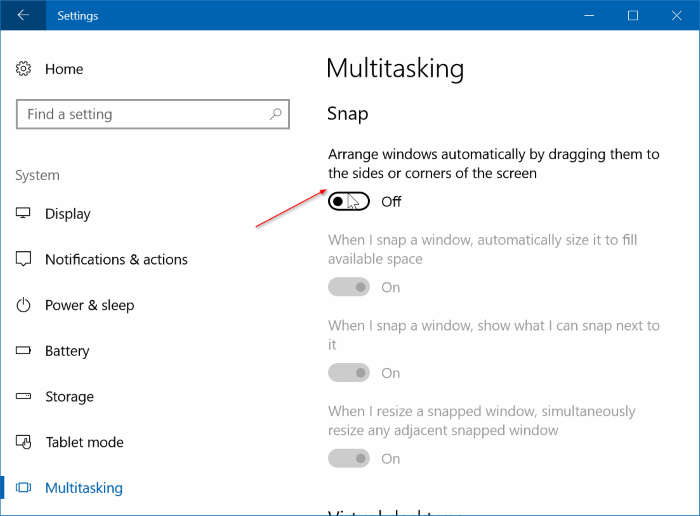 disable auto window resizing in windows 10