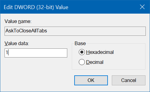 enable close all tabs confirmation dialog in Edge pic1