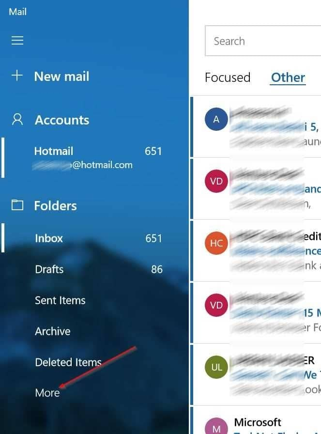 open spam folder in Windows 10 mail app pic1