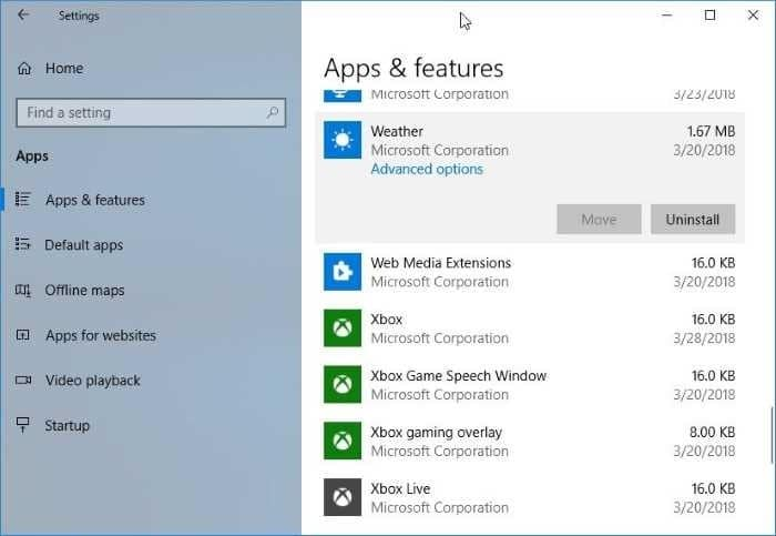 reset or reinstall Weather app in Windows 10 pic1