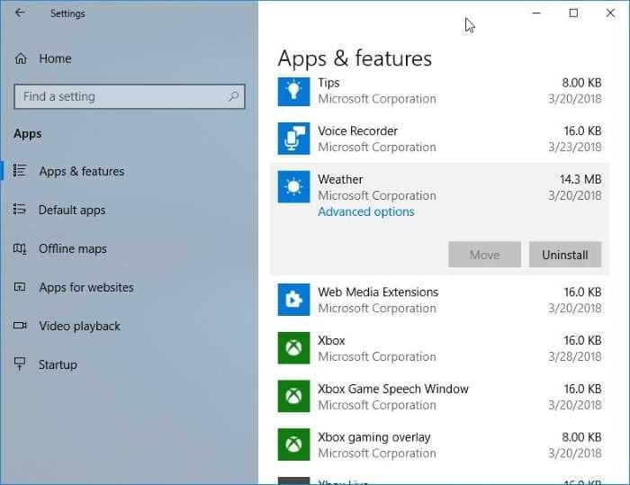 reset or reinstall Weather app in Windows 10 pic4