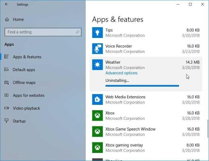 reset or reinstall Weather app in Windows 10 pic5