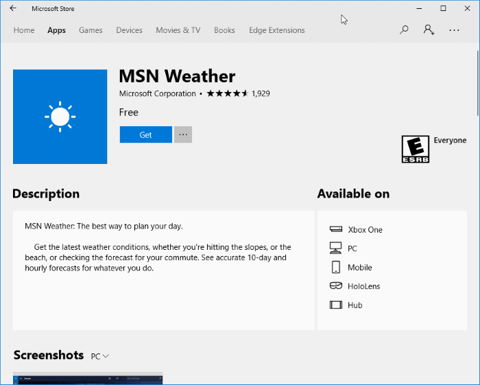 Reset Or Reinstall The Weather App In Windows 10