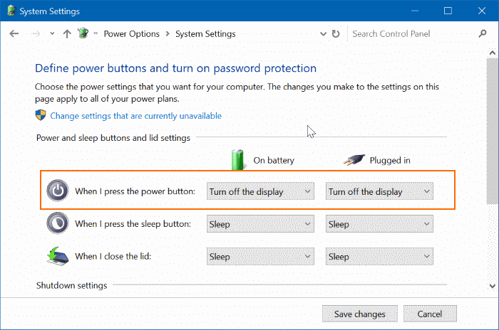 Use Power Button To Turn Off Laptop Screen In Windows 10