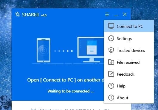 use shareit to transfer files between two PCs pic01