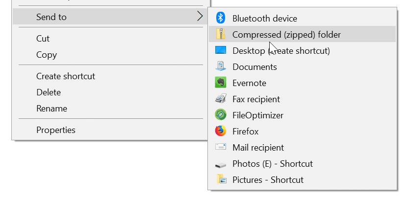 add folders to send to menu in windows 10