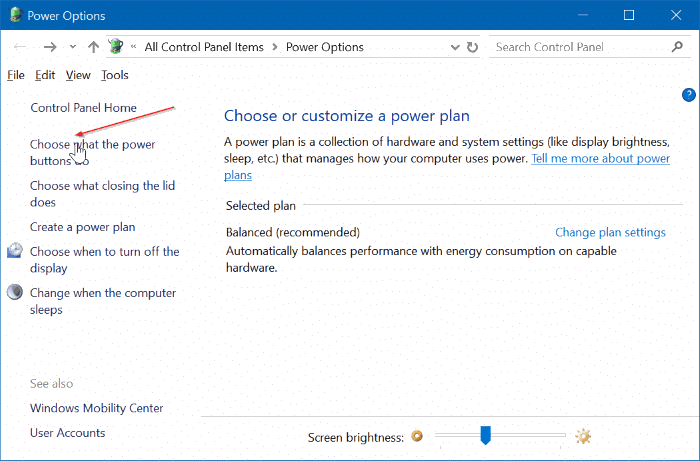 how to get to windows power settings