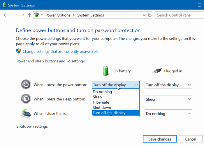 change power button settings in Windows 10 pic3