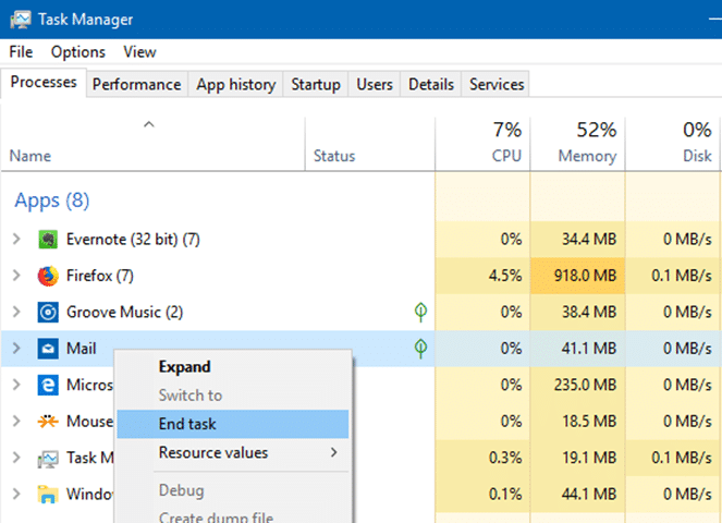 close not responding apps in Windows 10 pic3