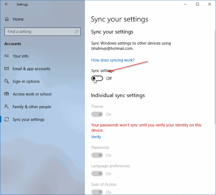 delete sync settings data from microsoft account in windows 10 pic1