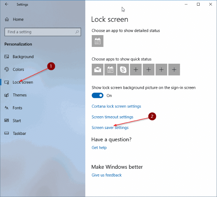 change screen saver settings in windows 10 pic1