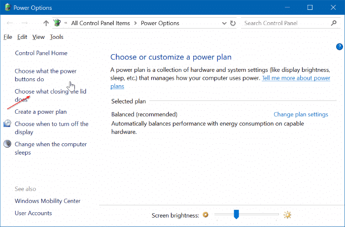 prevent laptop from starting upon opening the lid in windows 10 pic2