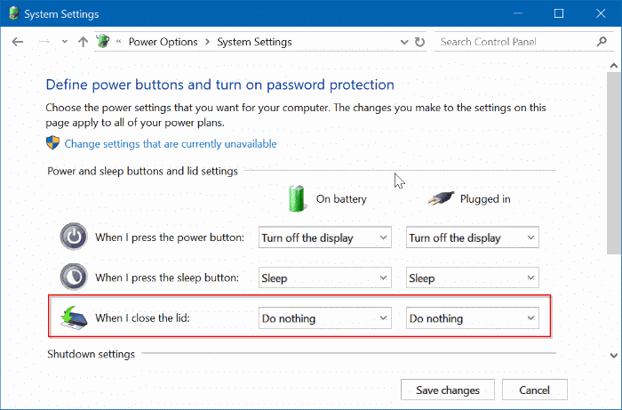 Prevent Laptop From Starting Upon Opening The Lid In Windows 10