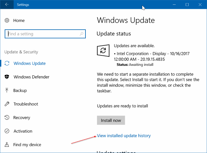 view recently installed driver updates in Windows 10 pic1