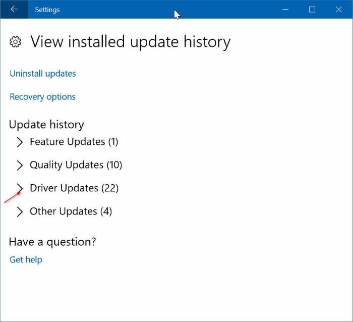 view recently installed driver updates in Windows 10 pic2