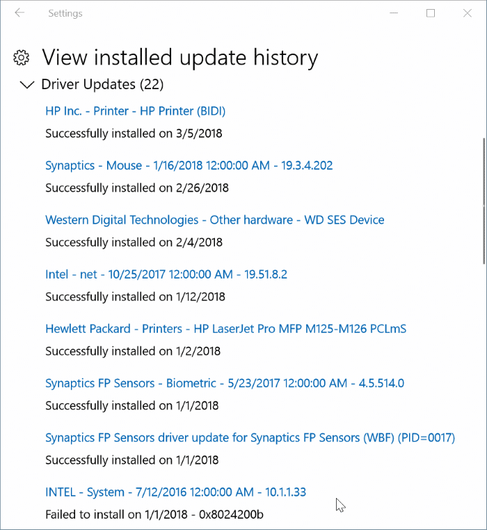 view recently installed driver updates in Windows 10