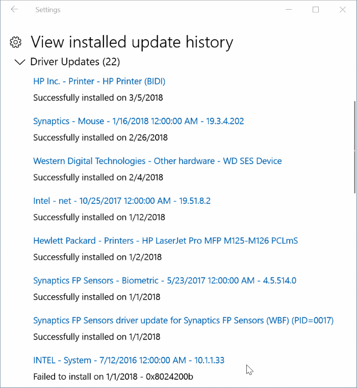 view recently installed driver updates in Windows 10 pic3