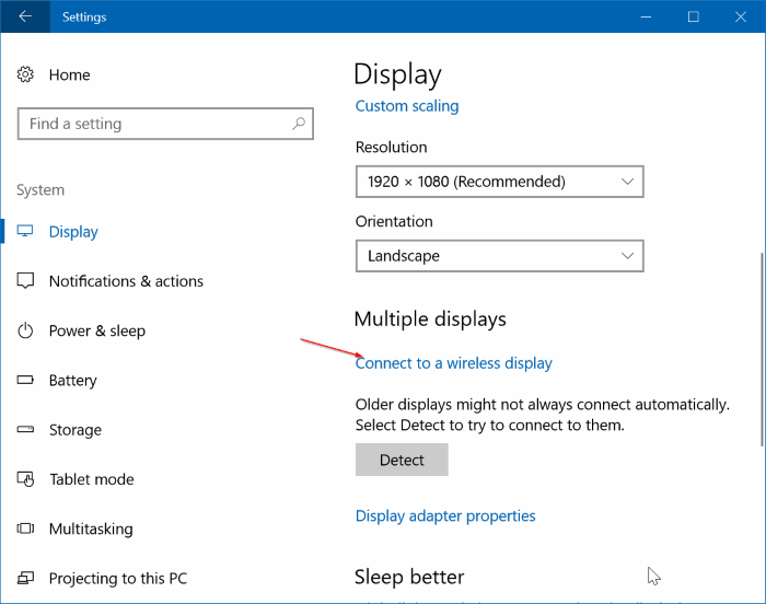 wirelessly connect Windows 10 laptop to TV pic1