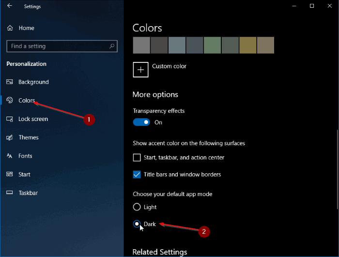 enable dark theme mode for file explorer in windows 10