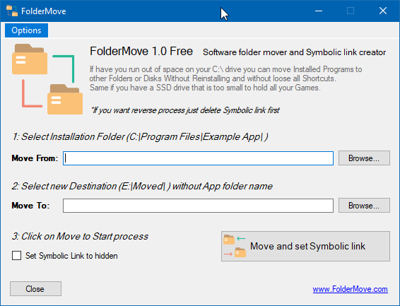 foldermove move installed progarms and games in Windows 10 pic01