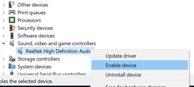 restart the audio driver in Windows 10