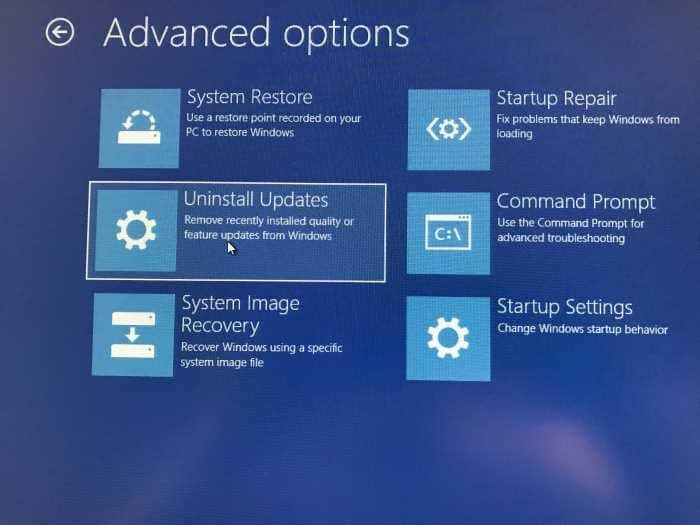 Uninstall Windows 10 updates when PC is not booting