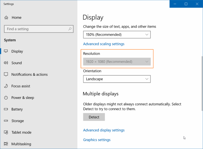 cannot change screen resolution in Windows 10 pic01