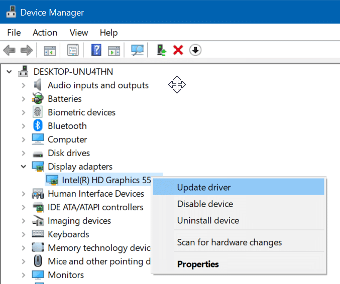 cannot change screen resolution in Windows 10 pic2