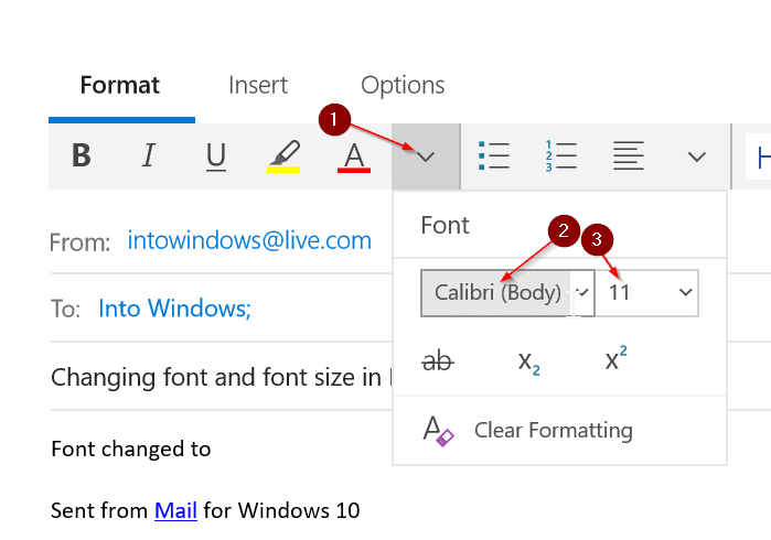 change font and font size in Mail app in Windows 10 pic1
