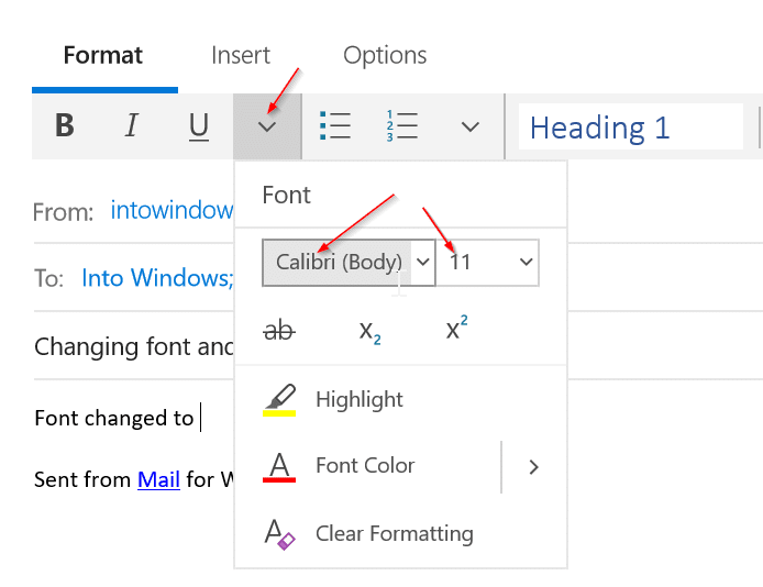 change font and font size in Mail app in Windows 10 pic2