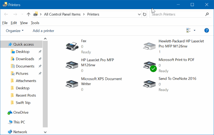 create desktop shortcut for printers folder in Windows 10 pic02