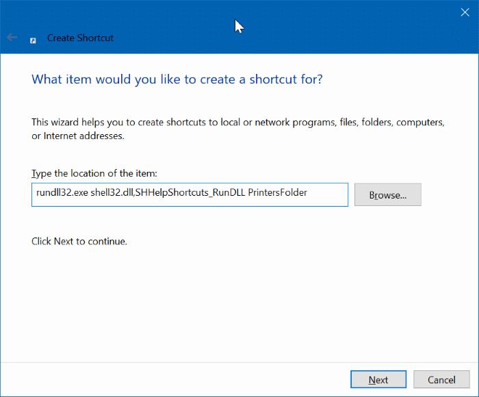 create desktop shortcut for printers folder in Windows 10 pic2